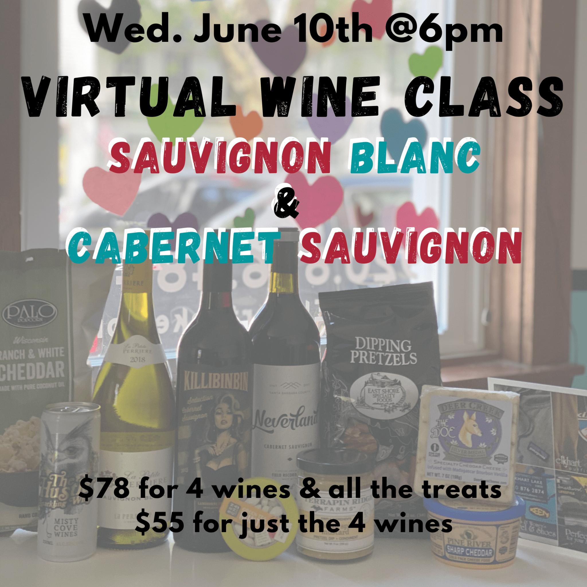 June 10th Virtual Tasting Pack: Sauvignons - Cabernet Sauvignon & Sauvignon Blanc (wine only)
