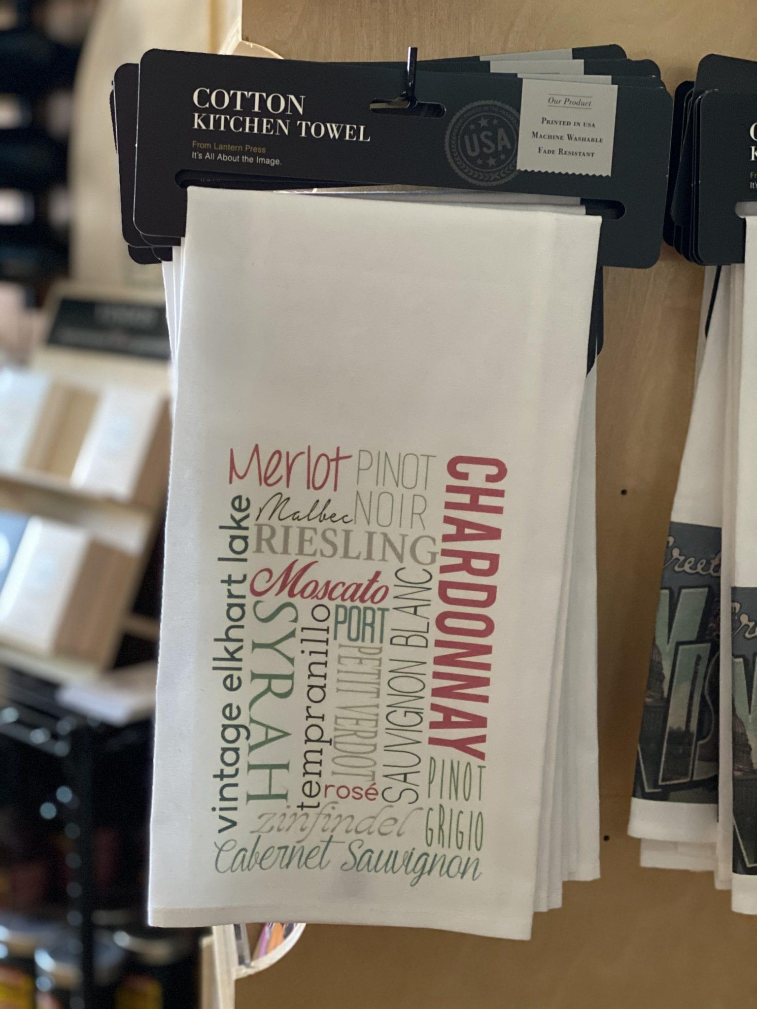 Elkhart Lake Wine Words Souvenir Towel